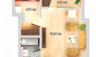 Apartament 1 camera, Galata-LIDL, 35mp