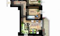 Apartament 3 camere, Copou, 60,20 mp